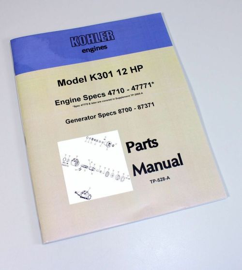 small resolution of kohler k301 12hp engine generator parts catalog manual exploded views numbers ebay
