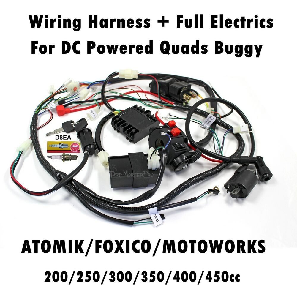 hight resolution of details about complete wiring harness loom 200 250 300cc 350cc 400cc 450cc atv quad bike buggy