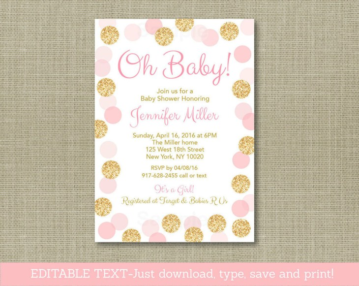 Details about Oh Baby Blush Pink & Gold Glitter Printable Baby Shower  Invitation Editable PDF