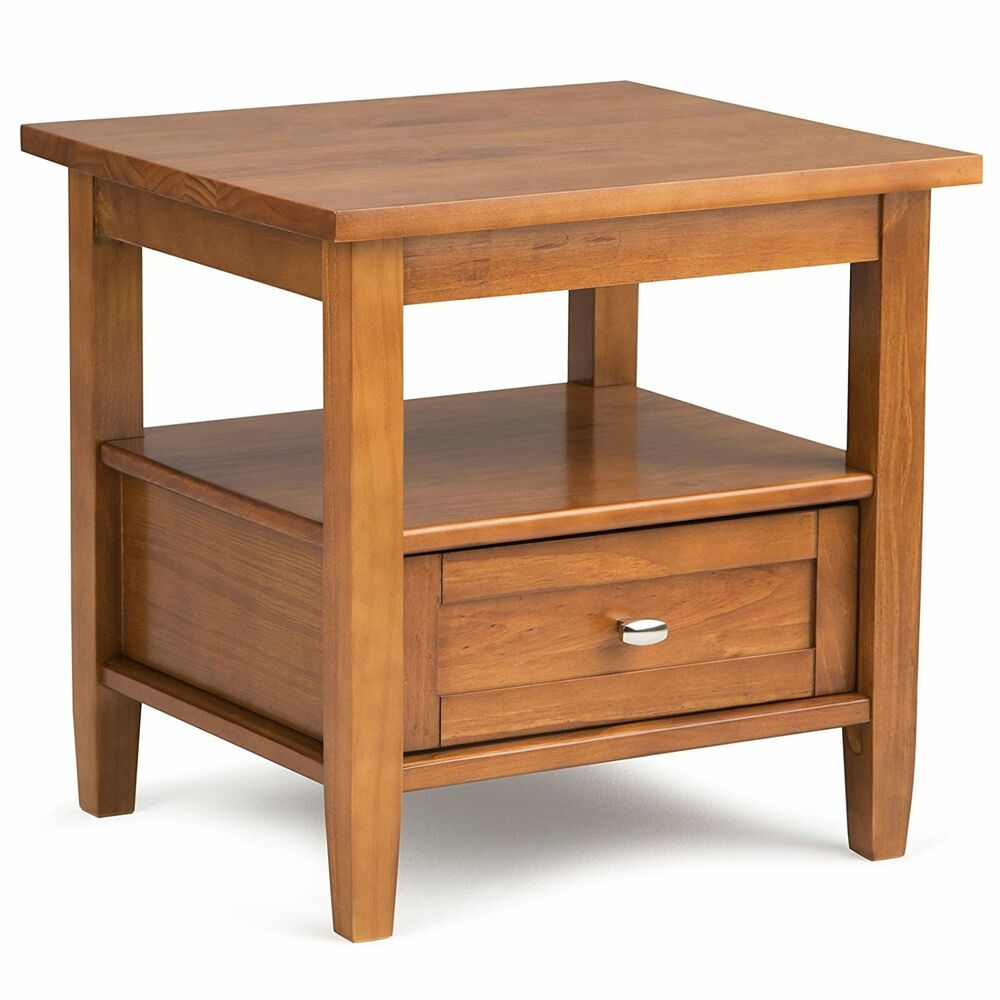 chair side tables with storage pottery barn aaron look alike arm table front end solid wood shaker style details about drawer display