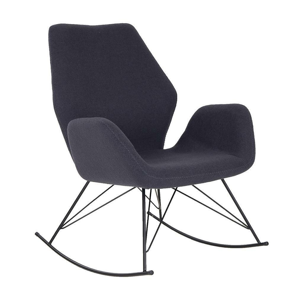 Rocking Accent Chairs Bryce Designer Dark Grey Rocking Chair Unique Seat Modern Felt Accent Chair 5056082707936 Ebay