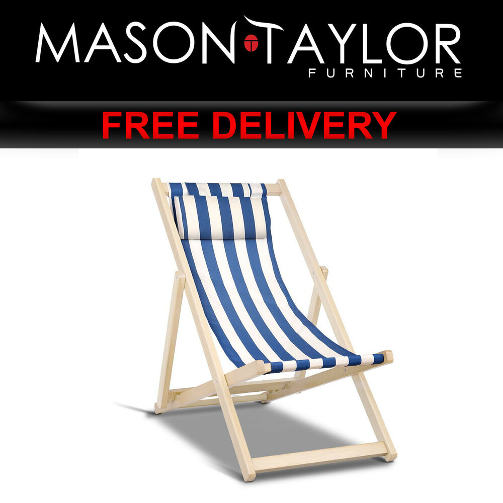 Blue And White Striped Chair Mason Taylor Fodable Beach Sling Chair Blue White Stripes Wood B Bc 6021t Bw Ebay