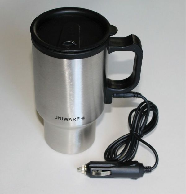 12v Thermos Electric Heated Travel Mug Stainless Steel Coffee Tea Cup Warmer