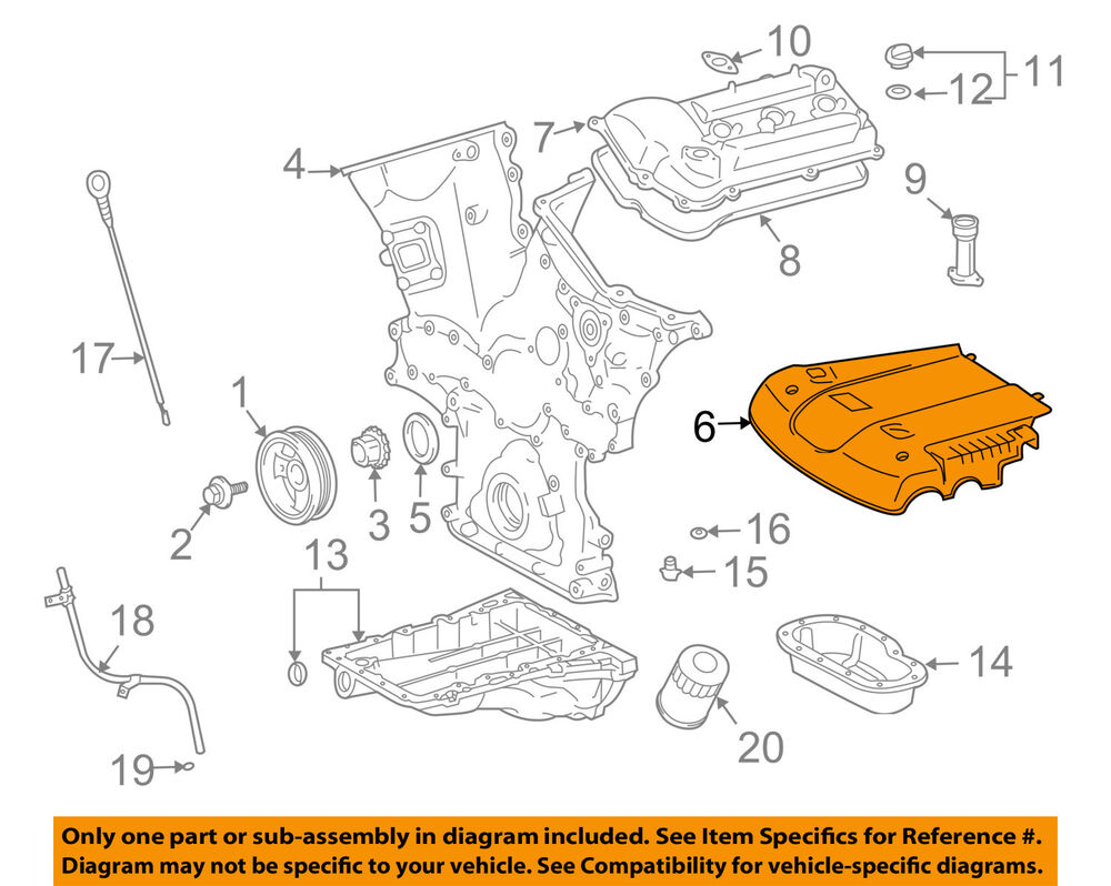 hight resolution of details about toyota oem 03 09 4runner 4 0l v6 engine cover 1125931011
