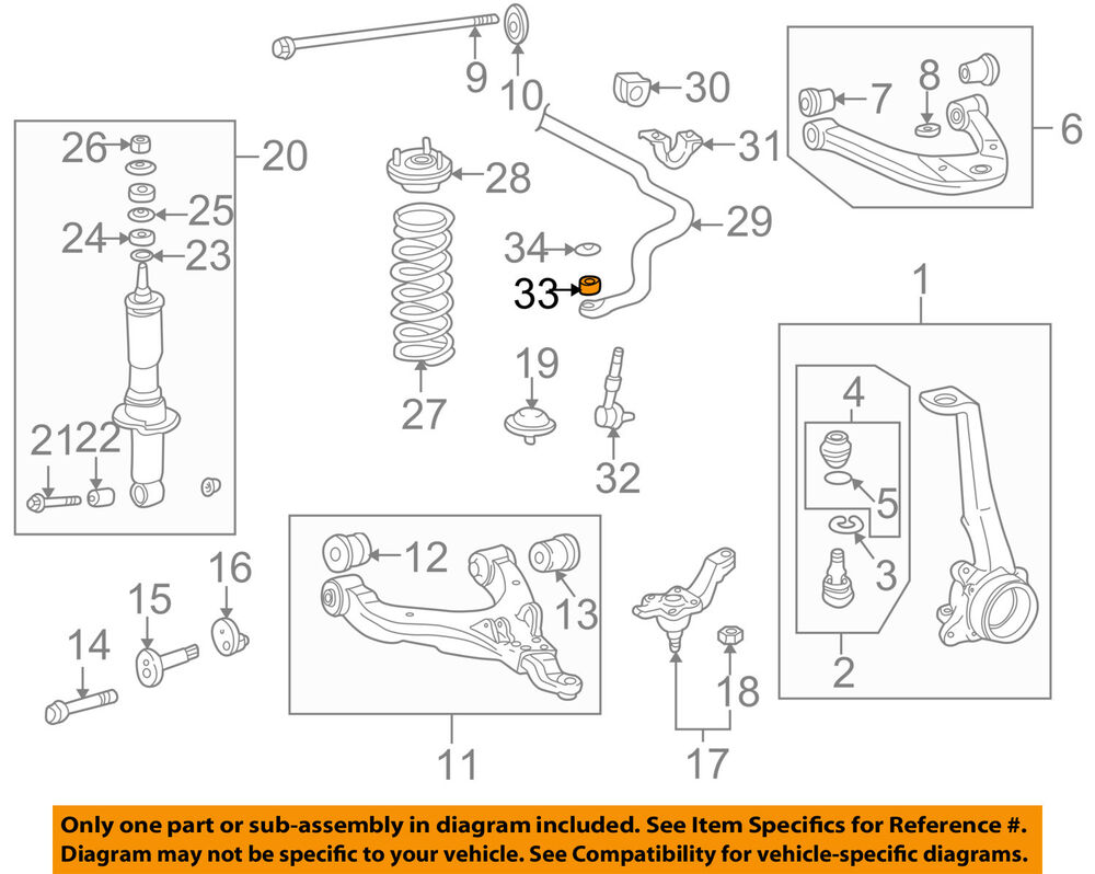 hight resolution of details about toyota oem front stabilizer sway bar link bushing 9094801003
