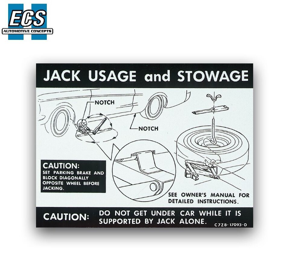hight resolution of 1968 1967 mustang jack usage stowage instruction decal label full size spare ebay