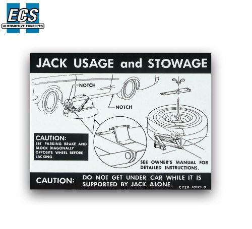 small resolution of 1968 1967 mustang jack usage stowage instruction decal label full size spare ebay