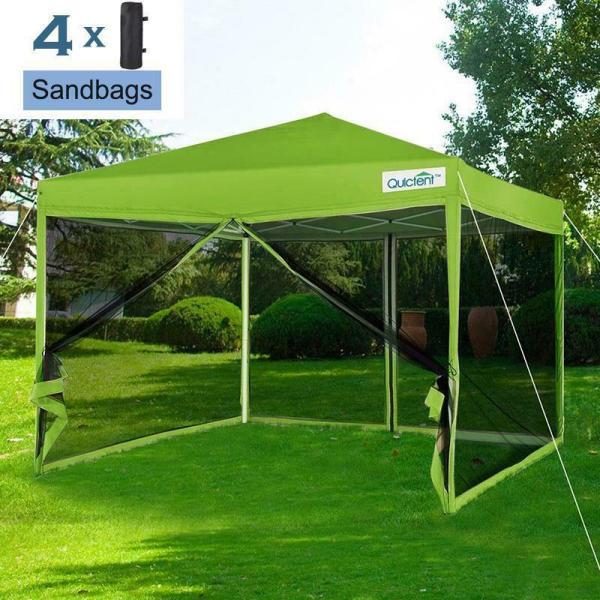 Quictent 10x10 Pop Canopy Gazebo With Netting Screen House Mesh Sides Green 6970385929446