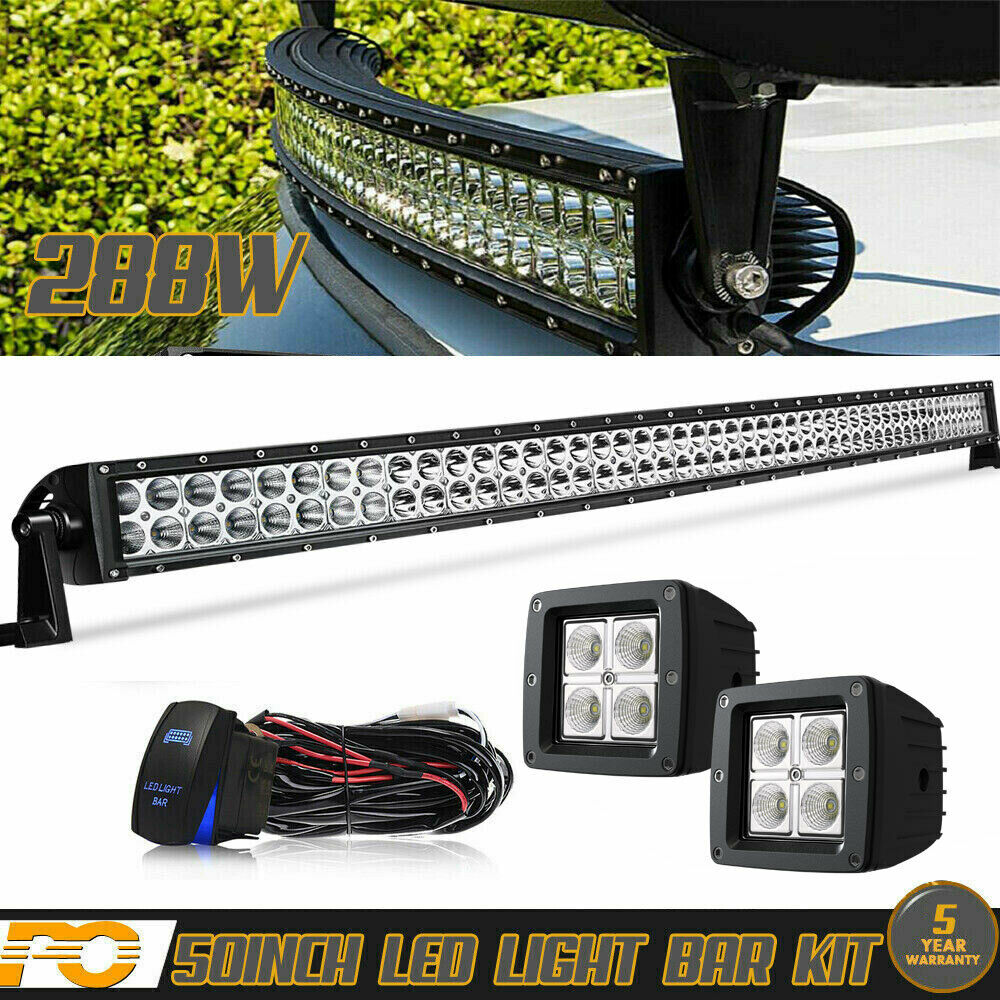 hight resolution of curved 50 light bar 2x 4 led pods kawasaki teryx mule 3010
