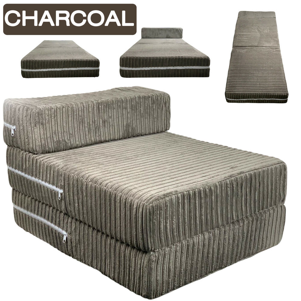 Foam Fold Out Chair Charcoal Jumbo Cord Single Chair Sofa Z Bed Seat Foam Fold Out Futon Guest Ebay