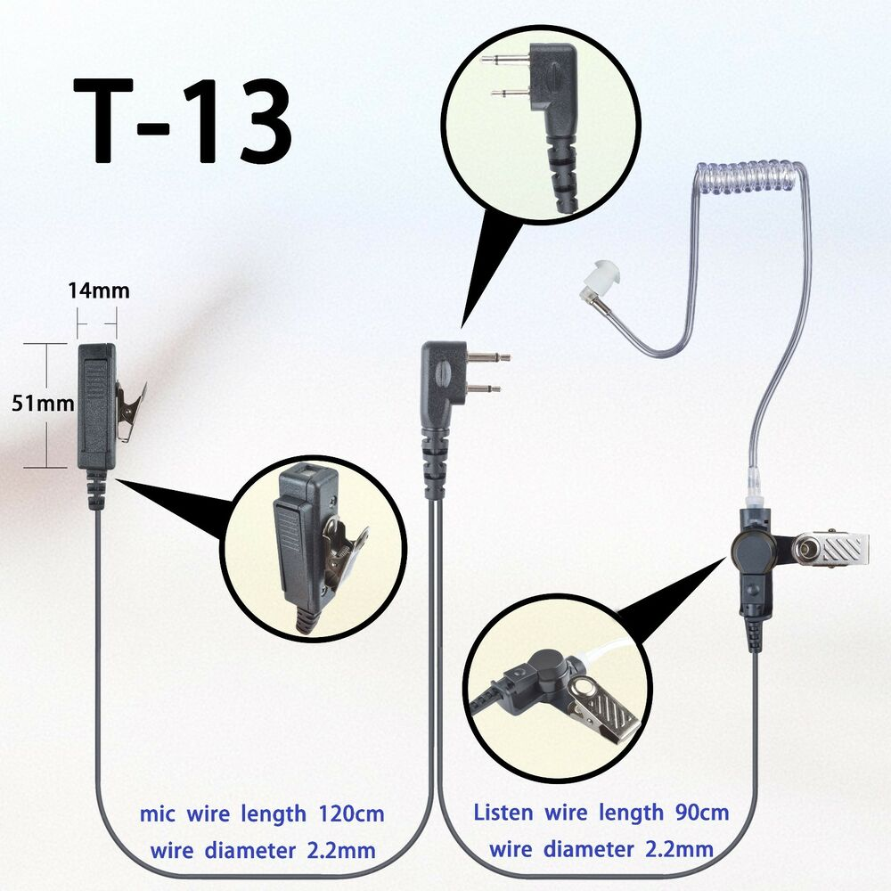 hight resolution of details about 2 wire surveillance earpiece for icom ic f14 ic f16 ic f24 ic f26 portable radio