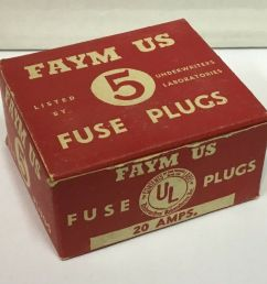 vintage faym us 20 amp fuse plugs unused from old store stock warehouse find ebay [ 1000 x 925 Pixel ]