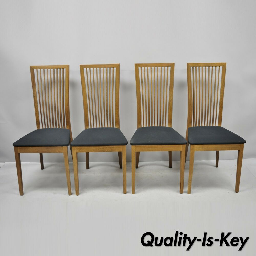 Italian Dining Chairs Set Of 4 Calligaris Connubia Slat Back Italian Wooden Dining Side Chairs Ebay