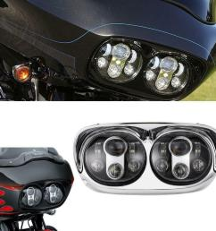 details about led headlight dual projector lamp for harley road glide 2004 2013 fltr [ 1000 x 1000 Pixel ]