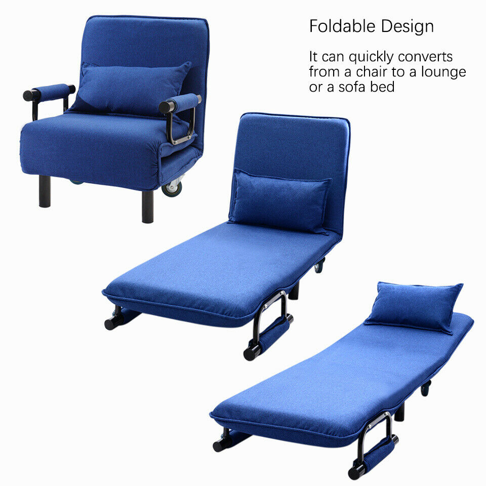 Foldable Bed Chair Foldable Recliner Sofa Bed Lounge Tub Armchair Fabric Linen Couch Single Sofa Uk Ebay