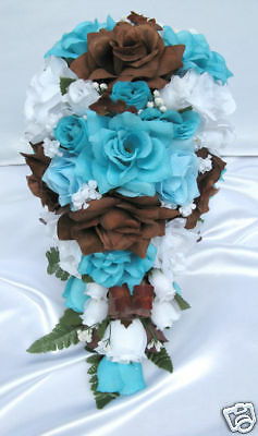 21pc Bridal bouquet wedding flower TURQUOISE  BROWN  eBay