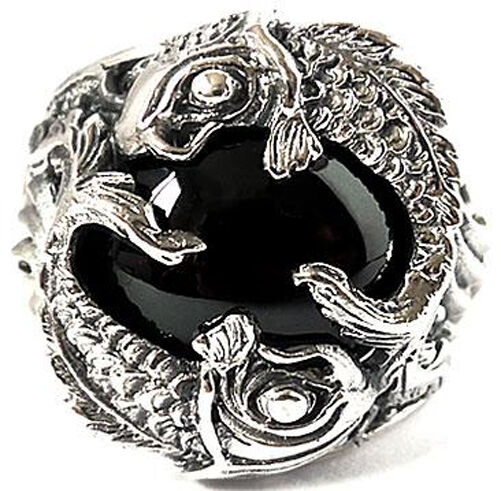 JAPAN KOI CARP FISH 925 STERLING SILVER RING Sz 9 BIG