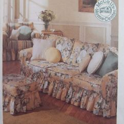Club Chair Slipcover Mesa And A Half Glider Home Decor Pattern Couch Slip Cover Ottoman Ruffled Country Style | Ebay