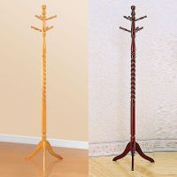 6 Hooks Cherry Oak Twist Center Stand Hall Tree Solid Wood ...