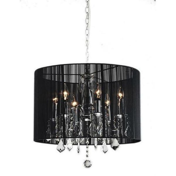 Black Drum Shade Chrome Crystal Chandelier Lighting Fixture Penddant Lamp