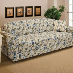 Slipcover Recliner Sofa Torino Sectional With Left Facing Chaise Blue Floral Flower Jersey Stretch Couch ...