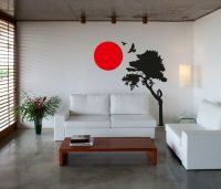 Wall Art sticker decal vinyl japanese oriental tree sunset