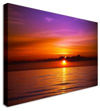 Large Sunset Seascape Violet Skyline Canvas Pictures Wall ...