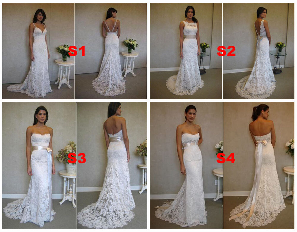 4 Styles V Neck Backless Mermaid Bridal Wedding Dresses