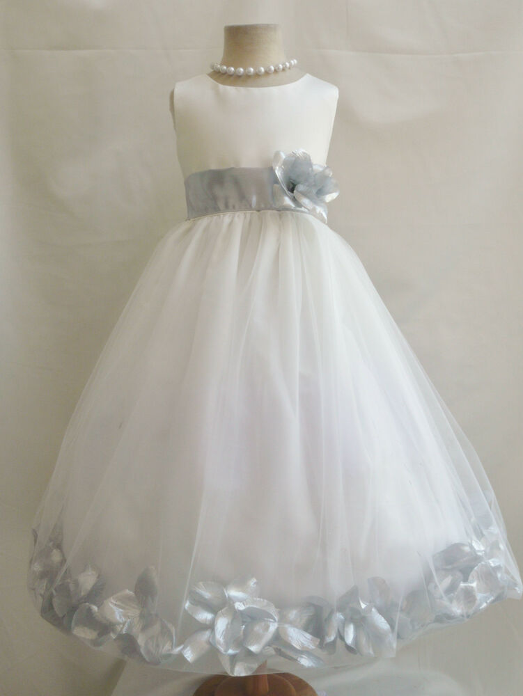 IVORY/SILVER GRAY TODDLER INFANT BRIDAL PAGEANT PARTY