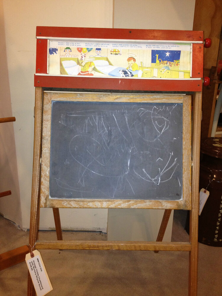 Vintage Childs Easel with Story Book Scroll