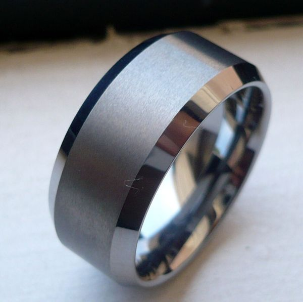 10mm Tungsten Carbide With Brushed In Middle Man' Wedding Band Ring Size 6-15