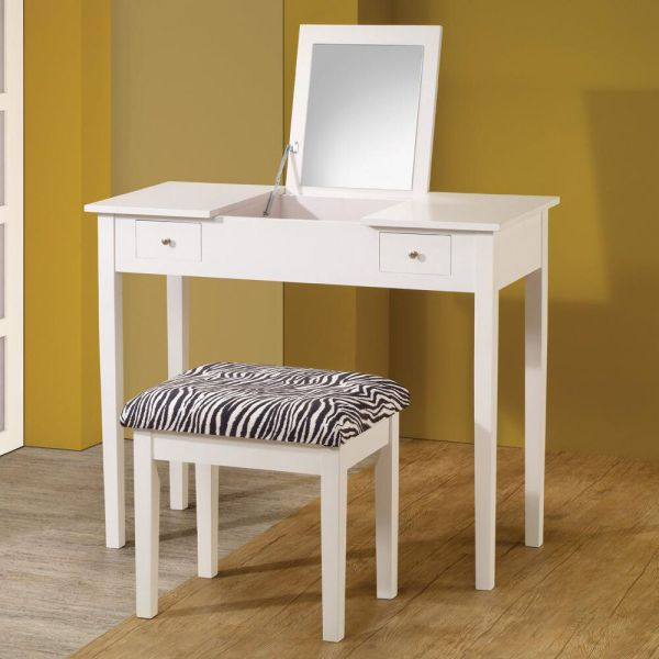 Modern White Lift-top Make Table Vanity Set Study Desk
