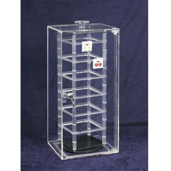 Acrylic Locking Display Case With Revolving Earring Stand