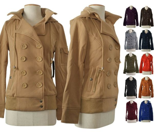 Double Breasted Hooded Pea Coat Women