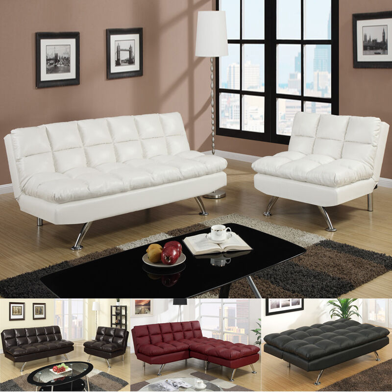 MODERN 2 PC Espresso Black White Red Faux Leather Sofa Bed
