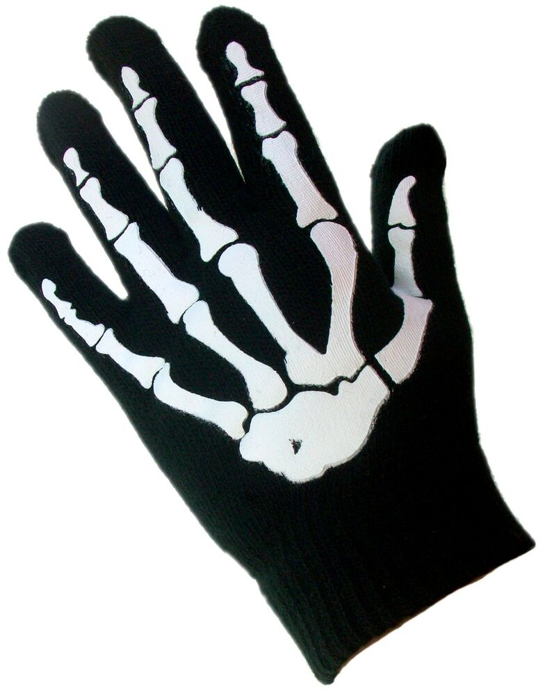 Black Knit Winter Gloves White Skeleton Bone Kids Gothic EBay
