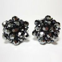Lot of Clip On Earrings for Women Czech Hematite Crystal