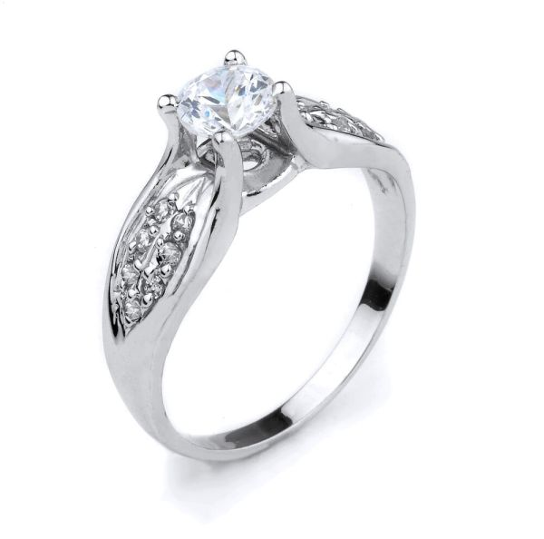 10k White Gold Clear Cubic Zirconia 1.50ct Engagement Ring In Usa
