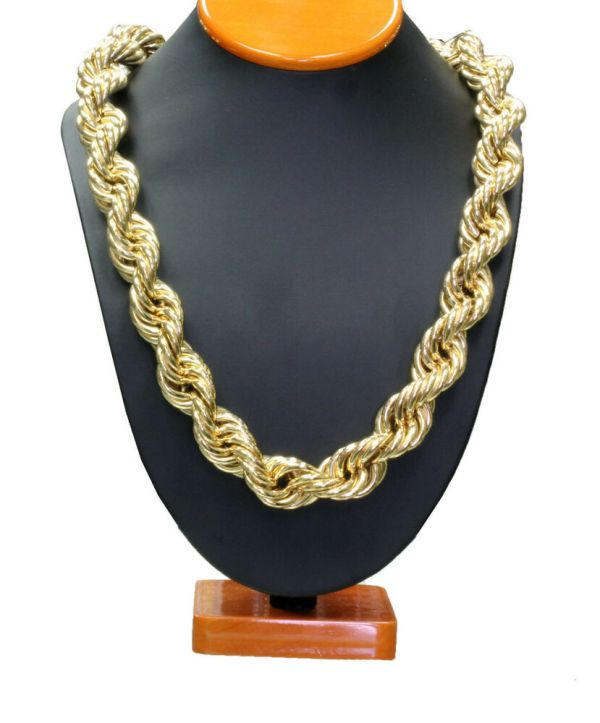 14k Gold Plated Necklace Rope Chain 36