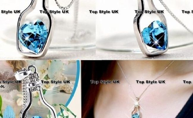 Unique Bottle Heart Crystal Diamond Necklace Birthday Gift