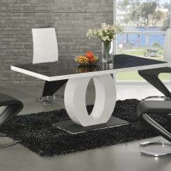 2 Seater Kitchen Table Set Nook Bench Contemporary Modern Black And White High Gloss Dining ...
