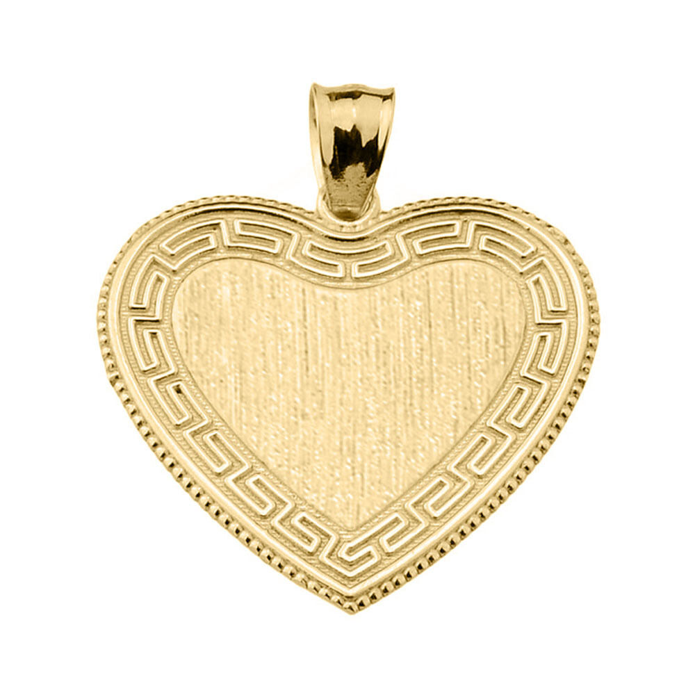 Solid Yellow Gold Greek Key Gold Engravable Heart Pendant