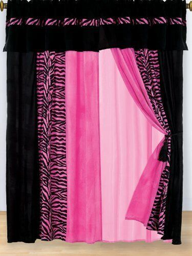 8 Piece Modern Hot Pink Black Leopard Zebra Print Striped