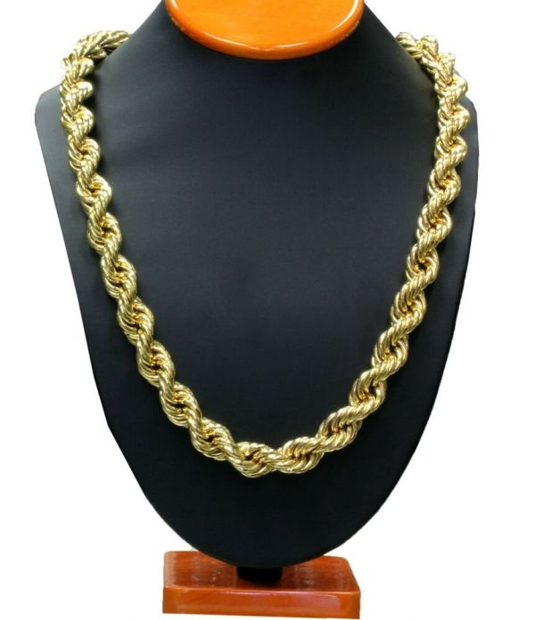 14k Gold Plated Hollow Necklace Rope Chain 36