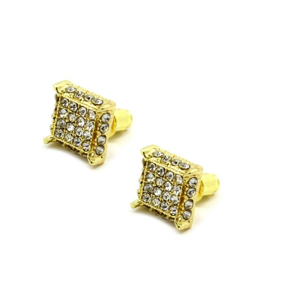 Mens Gold Clear Cz Cube Iced Out Hip Hop Micro Pave Stud