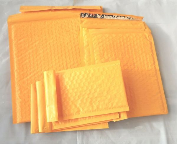 Assorted Sizes 8.5x12 6x9 And 4x8 Orange Poly Bubble Mailers 10 Of