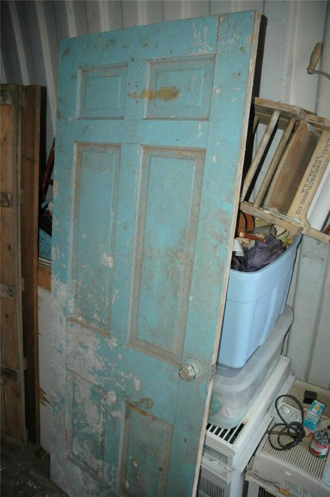 Antique Vintage Early 1900s Solid Wood 4 Panel House Door