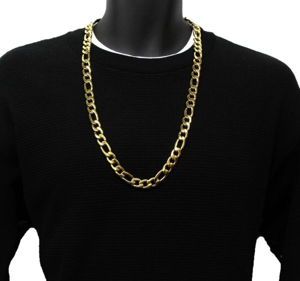 14k Gold Plated 12mm Italian Stainless Steel Figaro Link Chain Necklace 30