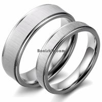 Couples Brushed Stainless Steel Men Ladies Wedding Band ...