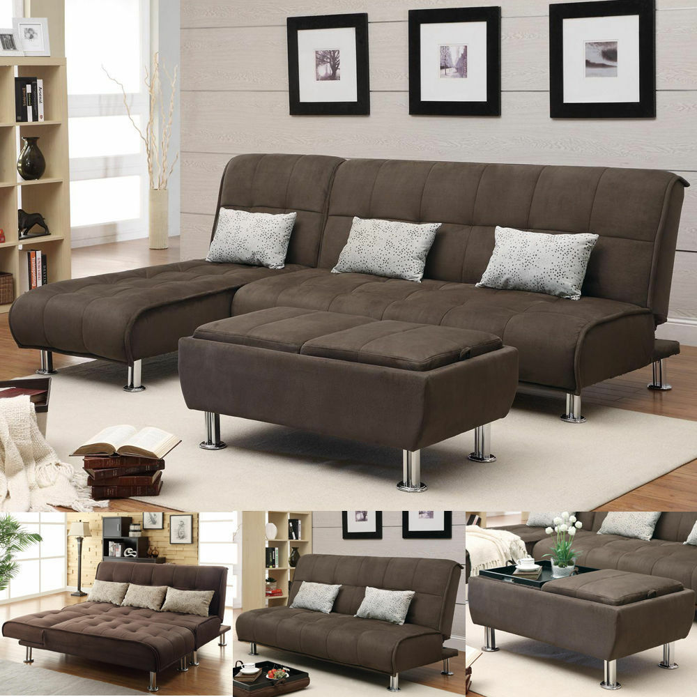 grey microfiber sleeper sofa marshmallow mickey mouse brown 3 pc sectional futon couch chaise ...